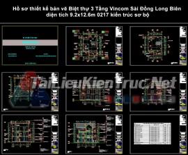 Hồ sơ thiết kế bản vẽ Biệt thự 3 Tầng Vincom Sài Đồng Long Biên diện tích 9.2x12.6m 0217 kiến trúc sơ bộ