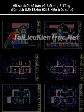 Hồ sơ thiết kế bản vẽ Biệt thự 3 Tầng diện tích 8.5x13.6m 0218 kiến trúc sơ bộ
