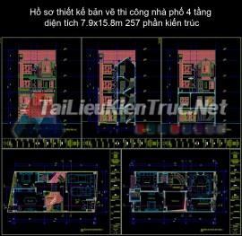 Hồ sơ thiết kế bản vẽ thi công nhà phố 4 tầng diện tích 7.9x15.8m 257 phần kiến trúc