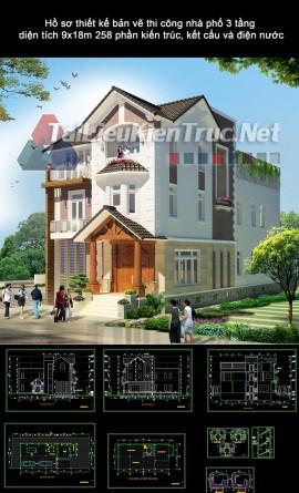 Hồ sơ thiết kế bản vẽ thi công nhà phố 3 tầng diện tích 7.9x15.8m 257 phần kiến trúc