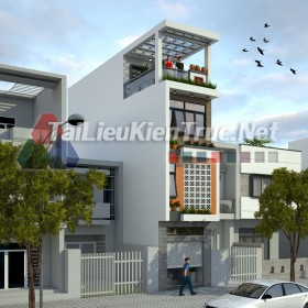 Phối cảnh 3d Sketchup nhà phố 4 tầng phong cách hiện đại 048 download