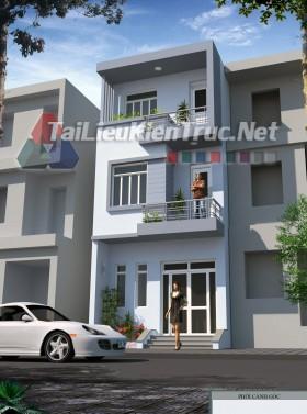 Hồ sơ thiết kế bản vẽ sơ bộ nhà phố 3 tầng 5x15m 165