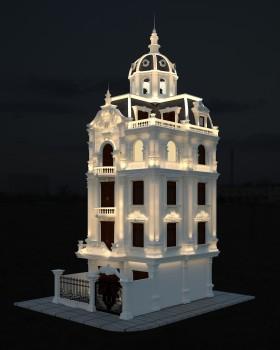 Phối cảnh 3d file Max chiếu sáng Biệt thự lâu đài 4 tầng tân cổ điển 00032 full