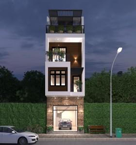 Hồ sơ thiết kế nhà phố hiện đại diện tích 5x17m full file Revit