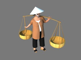 Thư viện 3d model người gánh hàng rong Việt Nam