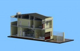 Hồ sơ thiết kế nhà phố bằng Revit diện tích 4,7x15m 2 tầng