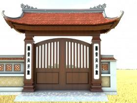 Phối cảnh 3d Sketchup Cổng chùa, nhà thờ họ 09