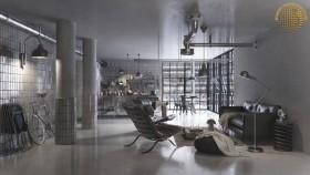 Phối cảnh nội thất 3D Phòng khách, Bếp ăn hiện đại đẹp 00076