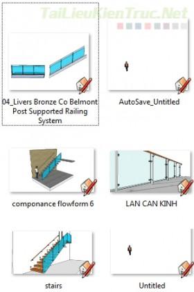 Thư viện Sketchup - Model 3d Lan can kính 0005