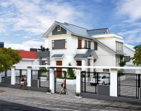 Hồ sơ thiết kế thi công biệt thự 2 tầng với diện tích 12x12m - 0119 full kiến trúc, kết cấu và phối cảnh 3d