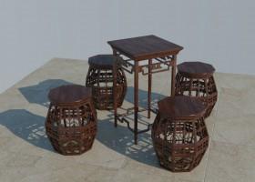 Thư viện 3d sketchup Bộ bàn ghế gỗ cổ 006