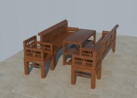 Thư viện 3d sketchup Bộ bàn ghế gỗ cổ 005
