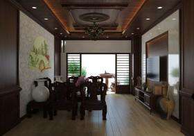 Phối cảnh nội thất 3DsMax phòng khách phong cách tân Á Đông 00056